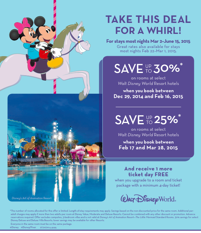 Walt Disney World – Room Only Discount for Spring 2015